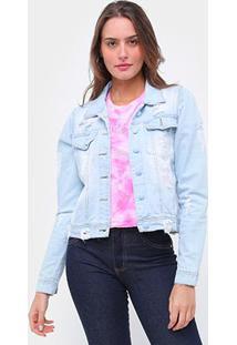 Jaqueta Jeans Ecxo Delavê Destroyed Feminina - Feminino-Azul Claro