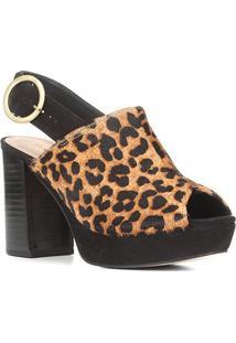 Sandália Couro Shoestock Meia Pata Onça Feminina - Feminino-Caramelo+Preto