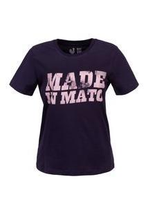 Tshirt Estampa Feminina Rosé E Marinho