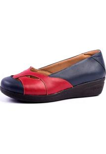 Sapato Doctor Shoes Anabela 194 Recortes Azul-Marinho/Rosa