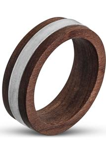 Anel Wooden Design Filetado Em Prata 925 - Madeira E Prata