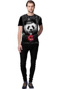 Camiseta Stompy Panda Food Masculino - Masculino-Preto+Vermelho