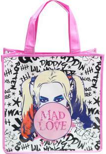 "Sacola Harley Quinn® ""Mad Love""- Branca & Rosa Clarourban"