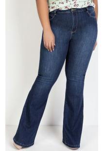 Calça Jeans Flare Com Bordado Sawary Plus Size