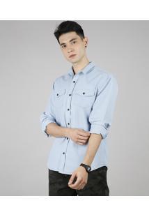 Camisa Masculina Com Bolsos Manga Longa Azul Claro