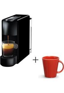 Cafeteira Nespresso Essenza Preto C30-Br - 220V + Canecas Basic Ceramica Com 04 Pecas Vermelho - Porto Brasil