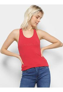Regata Calvin Klein Logo Feminina - Feminino-Vermelho