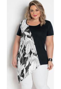 Blusa Assimétrica Preta E Folhagem Plus Size