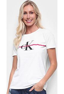 Camiseta Calvin Klein Slim Logo Faixa Feminina - Feminino-Branco