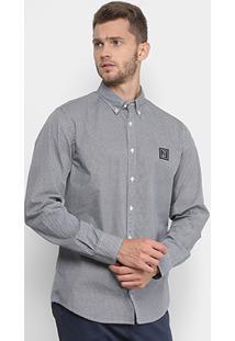 Camisa Manga Longa Tommy Hilfiger Regular Fit Estampada Bordado Masculina - Masculino-Marinho