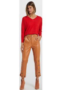 Blusa De Tricot Decote V Vermelho Flame