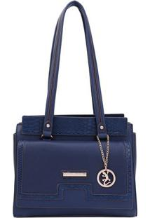 Bolsa Com Bag Charm- Azul Marinho & Dourada- 28X30X1Fellipe Krein