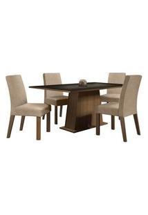 Conjunto Sala De Jantar Madesa Flavia Mesa Tampo De Madeira Com 4 Cadeiras Rustic/Preto/Imperial Cor:Rustic/Preto/Imperial