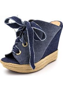 Sandália Anabela Flor Da Pele 3061 Jeans