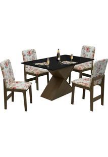 Conjunto De Mesa Com 4 Cadeiras Com Tampo Mdf Viena - Dobuê - Castanho / Preto / Vermelho Floral