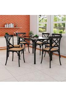 Conjunto De Mesa De Jantar Com 6 Cadeiras E Tampo De Vidro Katrina Preto