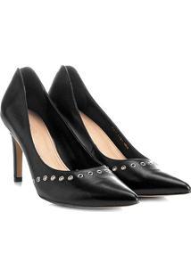 Scarpin Couro Shoestock Salto Alto Rocker - Feminino-Preto