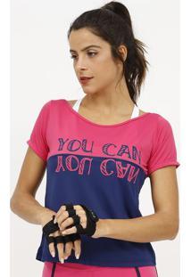 Camiseta Com Micro Furos & Inscrições- Rosa & Azul Marinpatra