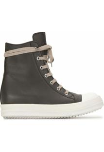 Rick Owens Ankle Leather Baseball Boots - Marrom