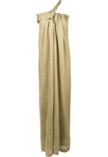 Lanvin Vestido Assimétrico De Lurex - Dourado