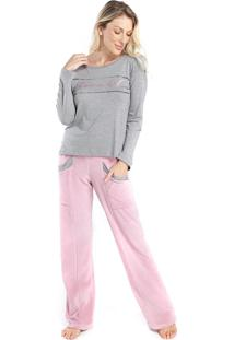 Pijama Feminino De Inverno Com Calça Plush Rosa