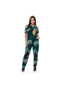 Macacão Longo B'Bonnie M/C Diana Floral Verde