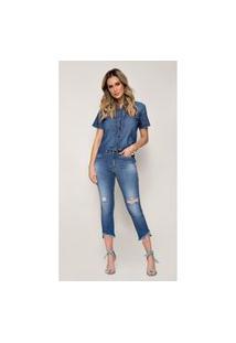 Calça Jeans Zait Flare Cropped Sol Azul Marinho