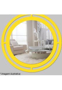 Espelho Círculo- Espelhado & Amarelo- Ø29,5X5Cm-Cia Laser