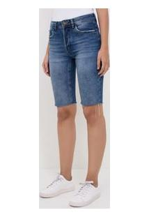 Bermuda Jeans Com Barra Corte A Fio