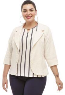 Blazer Melinde Plus Size De Linho - Feminino-Off White