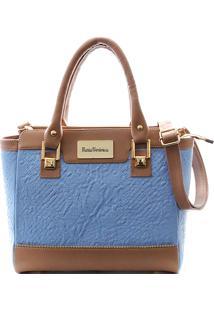 c2a484492 ... Bolsa Maria Verônica Detalhe Zíper Couro Azul Estampado 5120