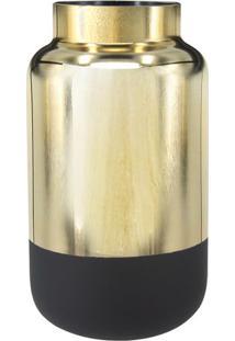 Vaso Metalizado- Dourado & Preto- 23Xã˜12,5Cm- Btbtc Decor