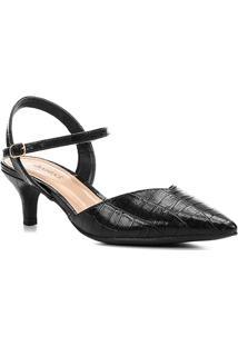 Scarpin Shoestock Croco Salto Baixo Recorte - Feminino-Preto