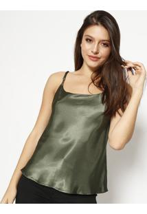 Blusa Acetinada Com Tiras - Verde Militarmoiselle