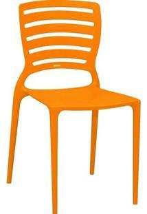Cadeira Sofia Laranja Encosto Vazado Horizontal Tramontina