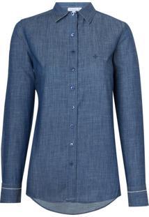 Camisa Ml Jeans Detalhe Desfiado (Jeans Escuro, 38)