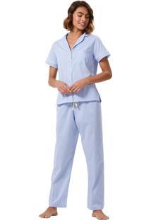 Pijama Corpo E Arte Lyon Azul Claro