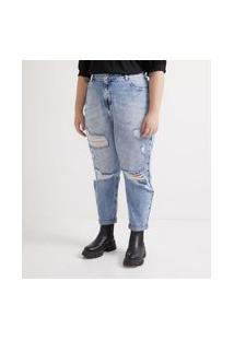 Calça Jeans Mom Com Puidos E Tachinhas Curve & Plus Size Azul