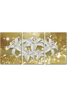 Quadro 60X120Cm Canvas Flores De Midas Decorativo Interiores - Oppen House