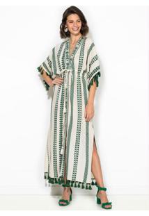 Vestido Kimono De Jacquard Abacaxi Bege