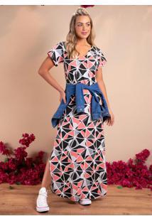 Vestido Longo Soltinho Com Fenda Geométrico