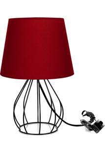 Abajur Cebola Dome Vermelho Com Aramado Preto - Vermelho - Dafiti