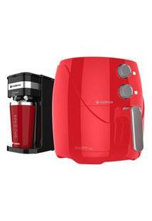 Kit Cadence Colors Vermelho - Fritadeira E Cafeteira O'Clock 110V