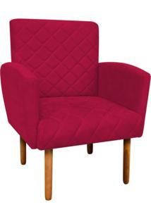 Poltrona Decorativa Veronês Para Sala E Recepção Suede Vermelho - D'Rossi