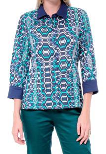 Camisa Energia Fashion Estampada Verde