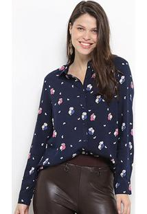 Camisa Facinelli Manga Longa Coruja Feminina - Feminino-Marinho