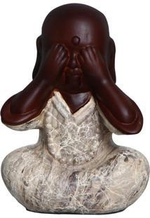 Escultura Decorativa Buda Não Vejo Marron Mesclado