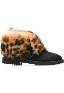 Giuseppe Zanotti Design Ankle Boot Com Pelos - Preto