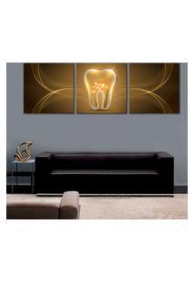 Quadro Oppen House 150X50Cm Dente Dourado Decorativo Interiores Salas
