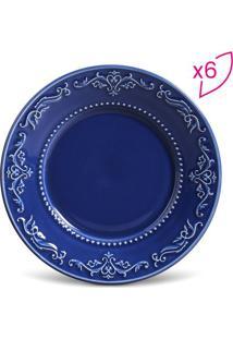 Jogo De Pratos Para Sobremesa Acanthus- Azul Escuro-Porto Brasil